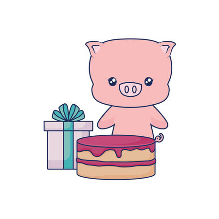 cute piggy animal baby strawberry cake and gift box vector illustration