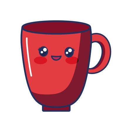 cute smiling red glass cup vector illustration