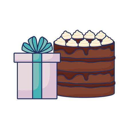 sweet chocolate cake with birthday gift box  vector illustration