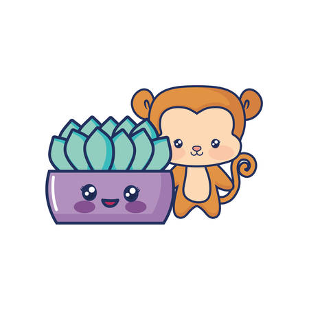 cute monkey baby with cartoon potted plant vector illustration