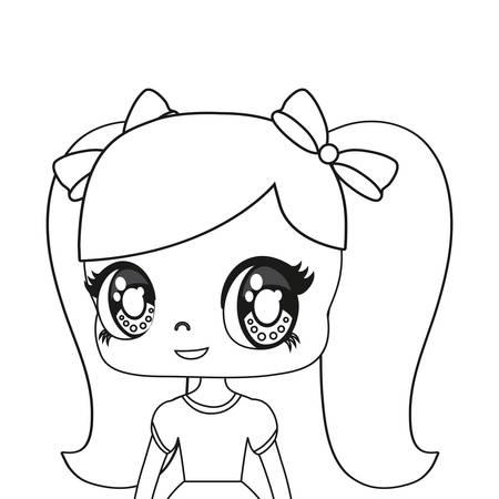 anime woman icon over white background, vector illustration Illustration