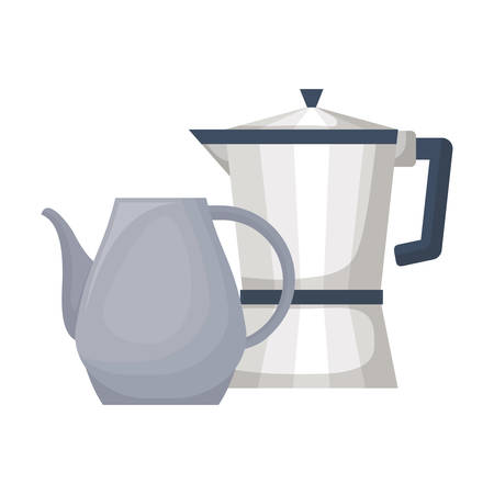kettle and pitcher over white background, vector illustration