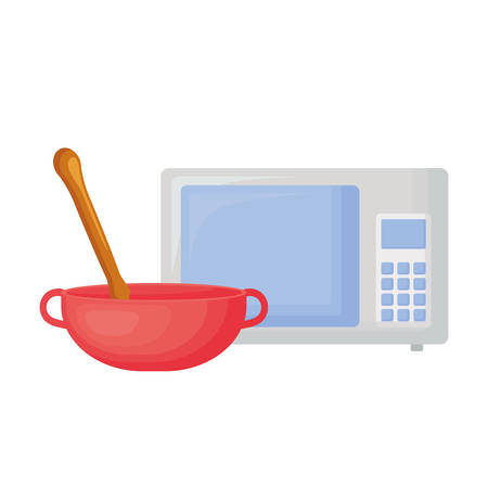 microwave and bowl over white background, vector illustration