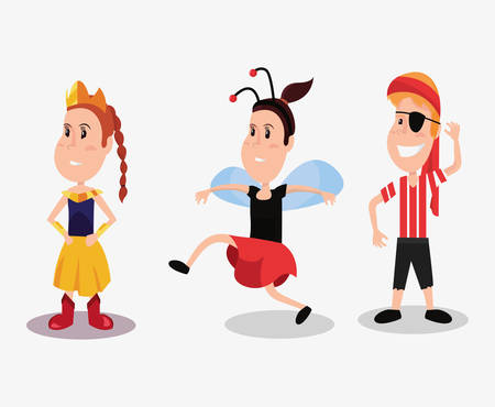 halloween people customes ladybug princess and pirate boy standing happy vector illustration Illustration