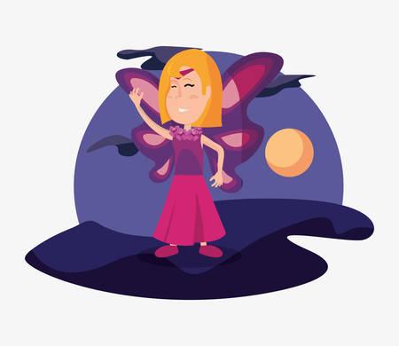 halloween customes girl butterfly shadows night moon vector illustration Illustration