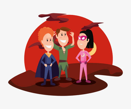 halloween people customes night super girl peter pan and super boy vector illustration