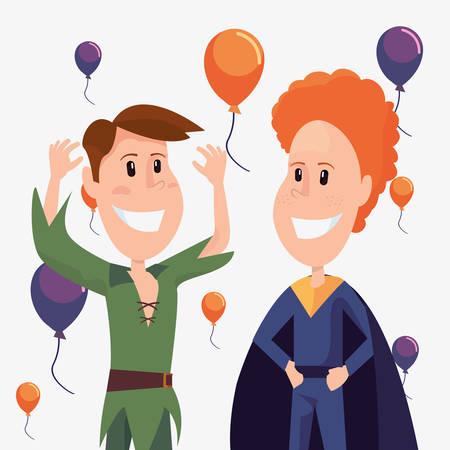 halloween customes boys celebration balloons vector illustration Illustration