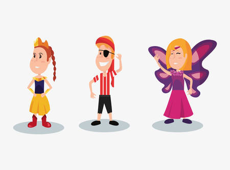 halloween people customes princess pirate boy and butterfly girl vector illustration Illustration