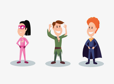 halloween people customes peter pan super boy and super girl smiling vector illustration
