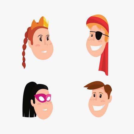 halloween people customes faces girls and boys vector illustration