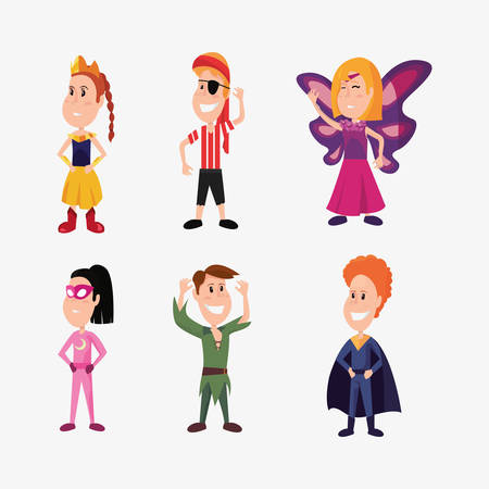 halloween people customes super boy peter pan super girl butterfly pirate vector illustration