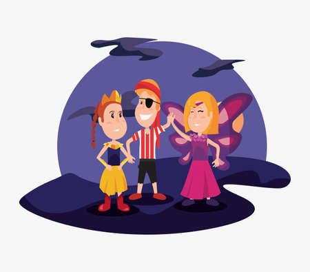 halloween people customes shadows night princess pirate boy and girl butterfly vector illustration