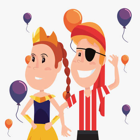halloween customes princess and pirate boy balloons celebration vector illustration