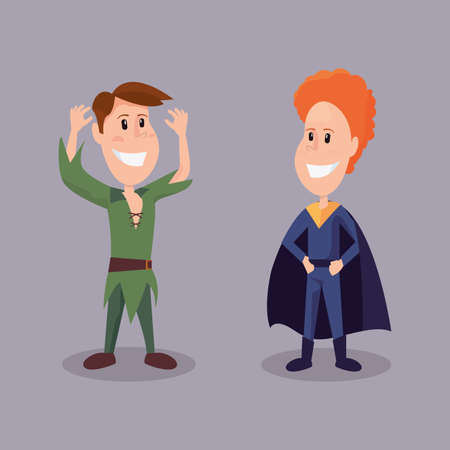 halloween customes peter pan and super boy smiling vector illustration