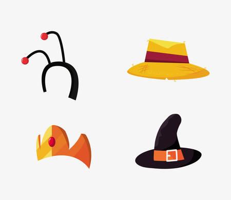 halloween customes hats antennas and crown princess vector illustration