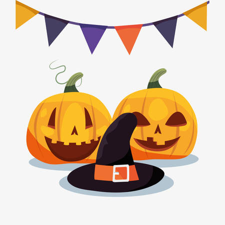 halloween pumpkins witch hat and pennants vector illustration