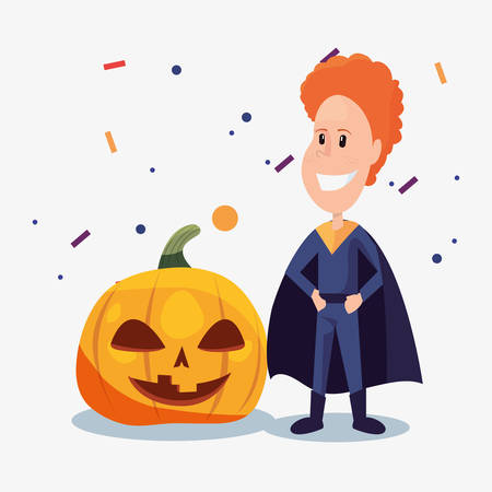 halloween customes super boy smiling creepy pumpkin vector illustration