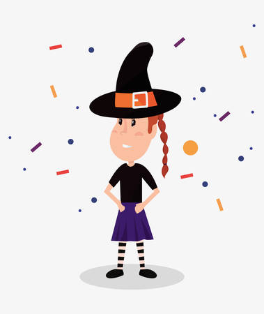 halloween customes cute girl witch confetti vector illustration