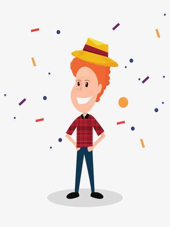halloween customes baquero boy smiling celebration confetti vector illustration