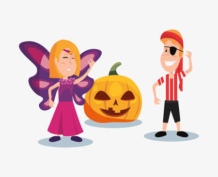 halloween customes buttefly girl pirate boy and creepy pumpkin vector illustration