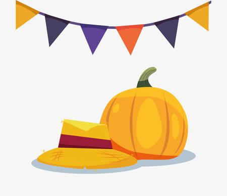halloween pennants baquero hat pumpkin vector illustration