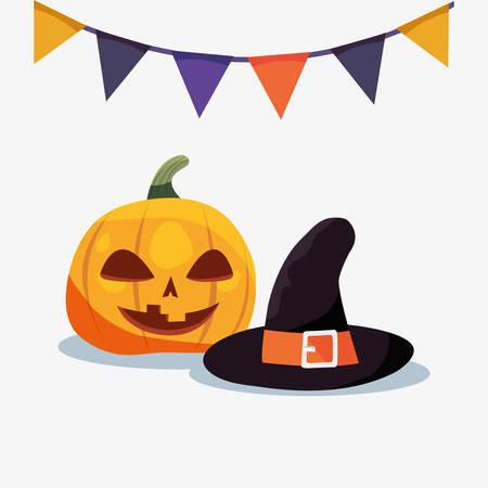 halloween customes witch hat pennants pumpkin vector illustration Illustration