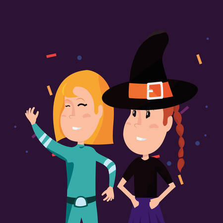 halloween customes confetti celebrate super girl and witch vector illustration Illustration