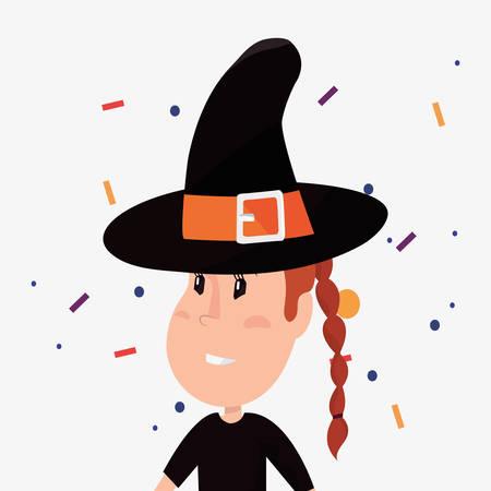 halloween customes confetti witch girl celebrate vector illustration