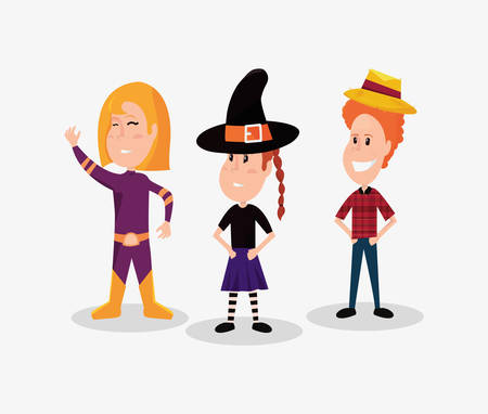 halloween customes super girl witch and baquero boy smiling vector illustration