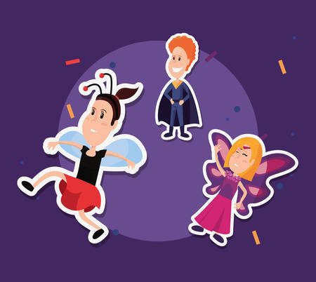 halloween customes butterfly girl ladybug jumping and super boy confetti vector illlustration
