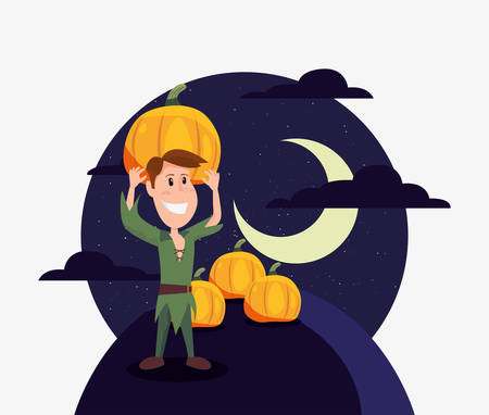 halloween customes moon night shadows peter pan with pumpkins vector illustration