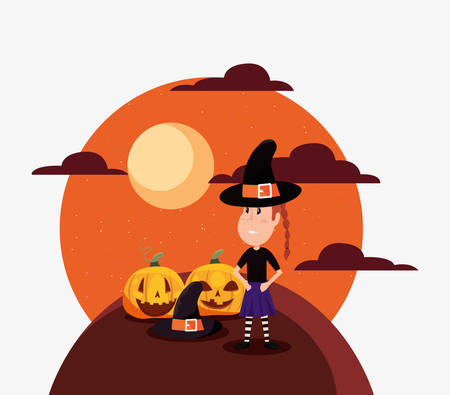 halloween customes pumpkins moon witch girl vector illustration