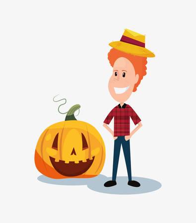 halloween customes happy pumpkin baquero boy smiling vector illustration