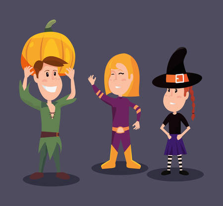 halloween customes peter pan super girl witch vector illustration Stock Illustratie