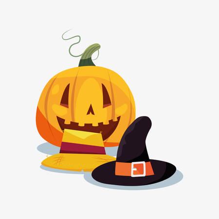 halloween witch hat baquero pumpkin vector illustration Illustration