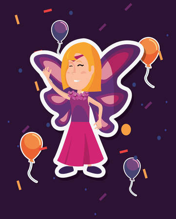 halloween customes colors balloons butterfly girl vector illustration Illustration