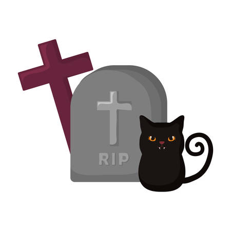 tombstone with cross and black cat icon over white background, vector illustration