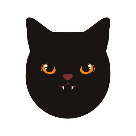 black cat icon over white background, vector illustration