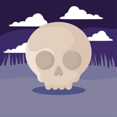skull over purple background, colorful design. vector illustration