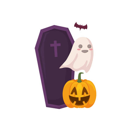 coffin with ghost and pumpkin over white background, colorful design. vector illustration