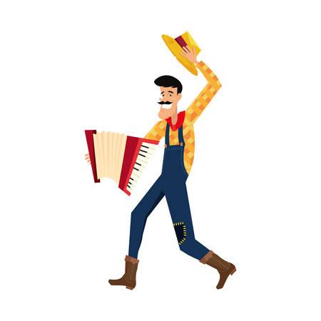 homme, à, instrument accordéon, musique, vecteur, illustration, conception Vecteurs