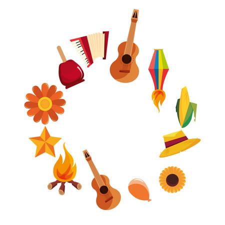 festa junina celebration guitar flower lantern hat corn vector illustration