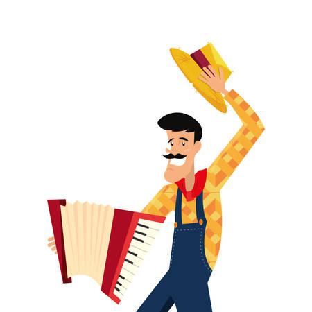 Mann mit Akkordeon Instrument Musik Vektor-Illustration