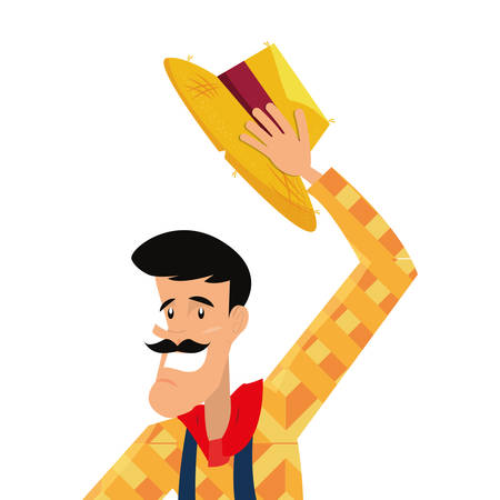 man with mustache holding hat traditional clothes folklore vector illustration