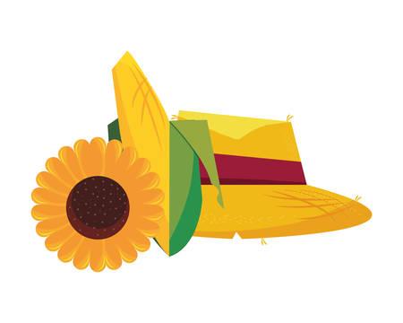 straw hat corn cob and sunflower vector illustration