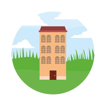 antique classic architecture building in the field vector illustration 写真素材 - 108985048