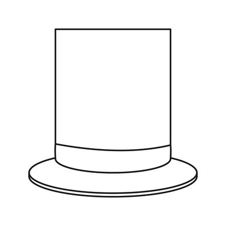 outline top hat accessory fashion vector illustration
