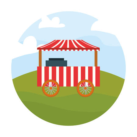 food booth in the field carnival festival vector illustration