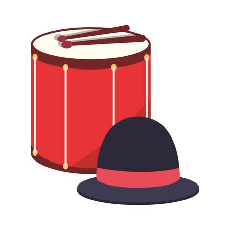 drum hat accessory carnival festival vector illustration Çizim