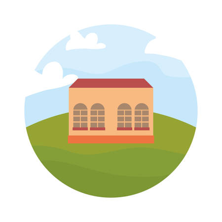 architecture building classic in the field vector illustration
